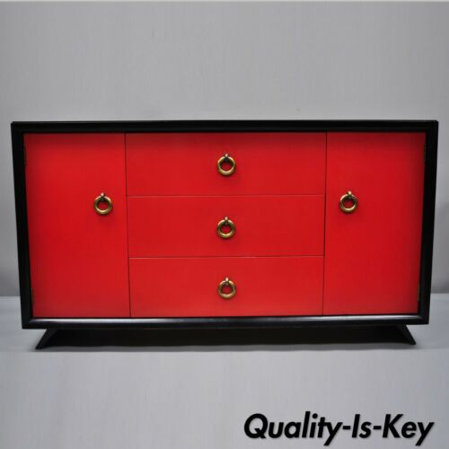 Mid Century Modern Art Deco Black and Red Credenza Cabinet Sideboard by Harjer