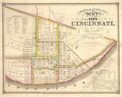 Topographical map of the city of Cincinnati c1841 30x24