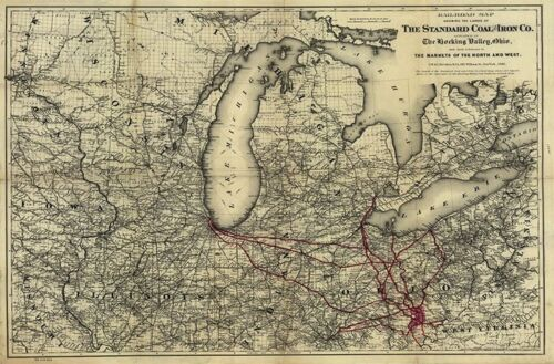 Railroad map in lands of Standard Coal and Iron Co Ohio c1881 36x24