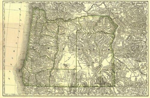 Railroad map of OR c1876 repro 24x16