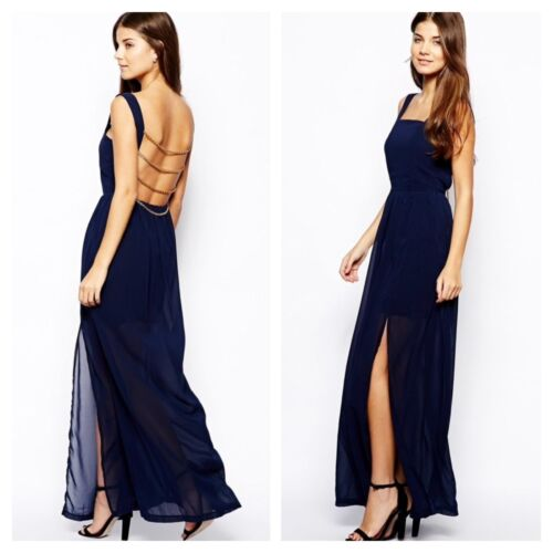 Rare London Size 14 Simply Fabulous Navy Maxi DRESS Chain Back Party Be £59