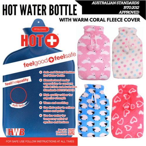 2L HOT WATER BOTTLE with Coral Fleece Cover Winter Warm Natural Rubber Bag