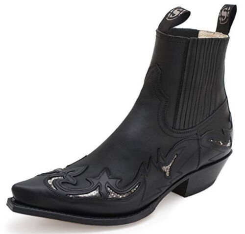 SENDRA BOOTS, 6799, BLACK PYTHON, COWBOY BOOTS, WESTERN BOOTS, BIKER BOOTS, NEW <br/> The ONLY ONE with VIBRAM Front Sole (No naked leather)