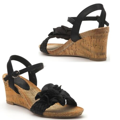 LADIES WOMENS WEDGE CORSAGE STRAP SANDALS SUMMER SHOES SIZE UK 3 - 8  (920)