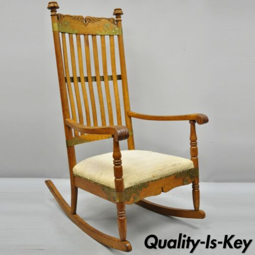 Antique Victorian Oak Wood Arts & Crafts Rocker Rocking Chair with Brass Accents