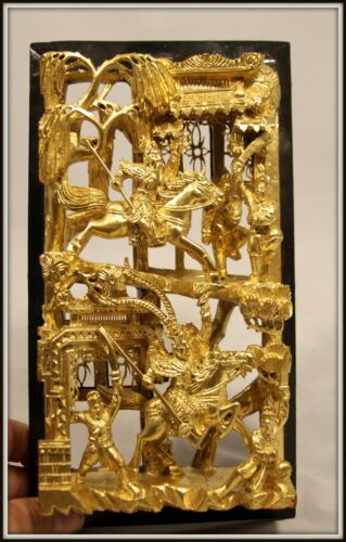 """Splendid! """"Hand Carved Gilded Wooden Chinese Wall Panel"""" (10.5"""" H x 6"""" W x 2"""" D)"""