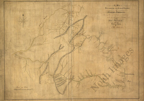 Map of Potomack and James rivers in North America c1773 34x24