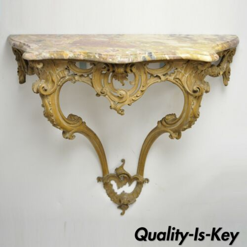 French Louis XV Rococo Italian Wall Mounted Carved Wood Marble Top Console Table