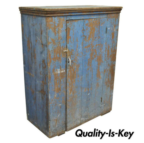 Antique Blue Distress Painted PA Rustic Primitive Jelly Cupboard Pantry Cabinet