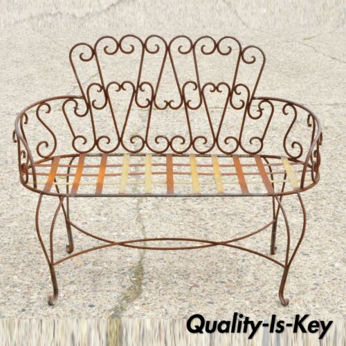 Vintage Fancy Scrolling Wrought Iron Victorian Style Garden Patio Bench Loveseat