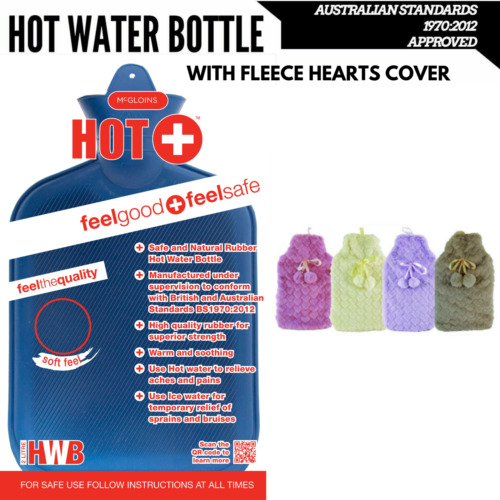 2L HOT WATER BOTTLE with Hearts Fleece Cover Winter Warm Natural Rubber Bag
