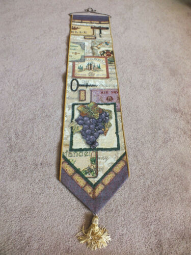 Collectible Beautiful Tapestry Wall Hanging Wine Cork Grapes 44x9+Hanger WOW
