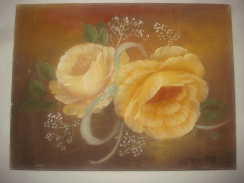 PRETTY Yellow flower ROSES original hand painted oil painting  by Manshell