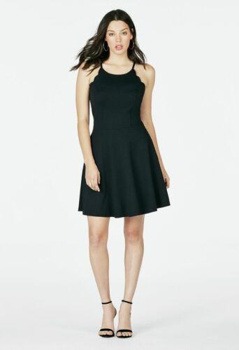 Just Fab Scallop Fit and Flare Dress Justfab Size 12 Uk BNWT RRP £50 Black