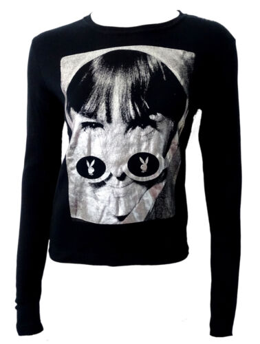 Maglia Playboy t-shirt maniche lunghe long sleeves stampa frontale Argento tagli