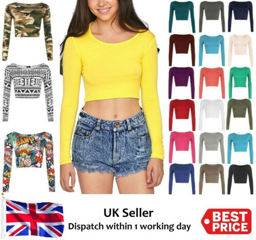 Women's Crop Top Long Sleeve Scoop Crew Neck Ladies Bralet T-shirt Vest 8-14 New