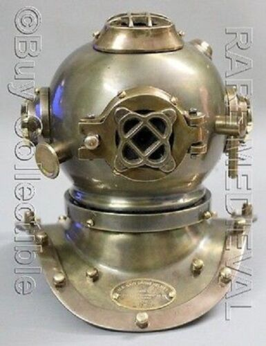 Vintage Steel Marine US Navy Mark V Divers Helmet Deep Mini Diving Replica