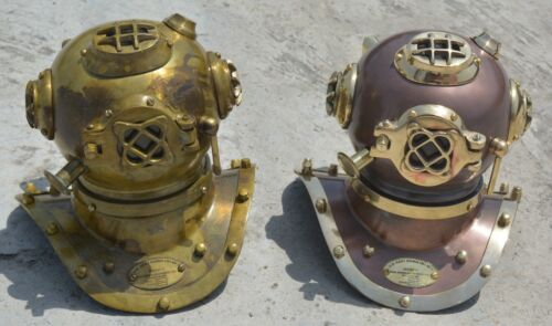 "2 Pieces Antique Mini Diving Divers Helmet 6"" U.S Navy Maritime Replica Item"