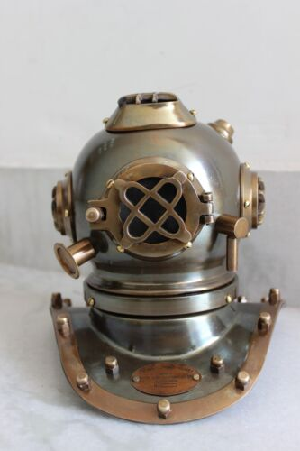 "Vintage 6"" Steel Marine US Navy Mark V Divers Helmet Deep Mini Diving Replica"