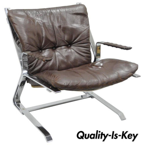 Pirate Lounge Chair Brown Leather & Chrome by Elsa & Nordahl Solheim for Rykkin