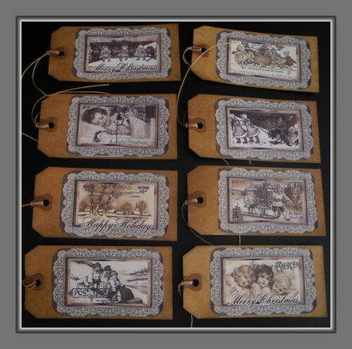 VINTAGE CHRISTMAS HANG TAGS- VICTORIAN CHILDREN IN THE SNOW - SCENTED