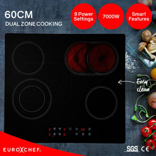 EuroChef 60cm Ceramic Cooktop 4 6 Zone Electric Glass Burner Top Flat Kitchen    <br/> 20% OFF. Must use Checkout Code PAPA20. Ends 30/8. TCs.