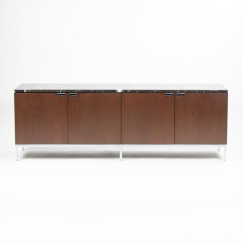 Vintage Florence Knoll International Wood and Marble Credenza Cabinet Sideboard