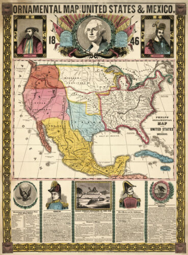 Ornamental map of US and Mexico c1846 18x24