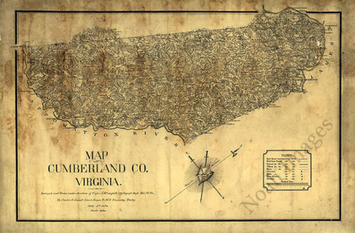 Map of Cumberland County Virginia c1864 36x24
