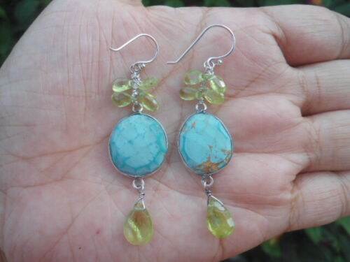 Natural Blue TURQUOISE & PERIDOT 925 STERLING SILVER Dangling EARRINGS