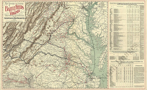 Map showing the location of battle fields of Virginia 32x20