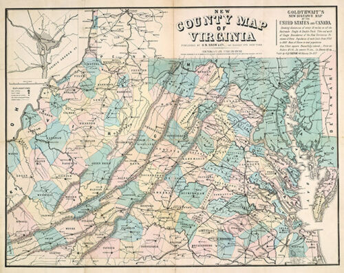 County map of Virginia c1861 map 26x21