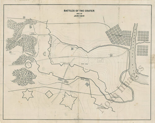 Battles of the Crater Virginia c1864 map 25x20