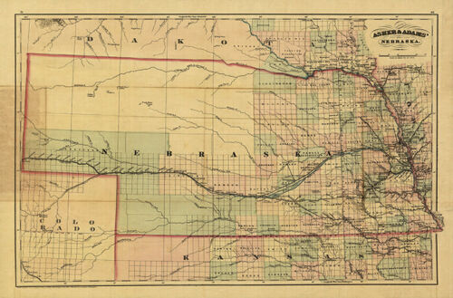 Railroad map of Nebraska c1874 36x24