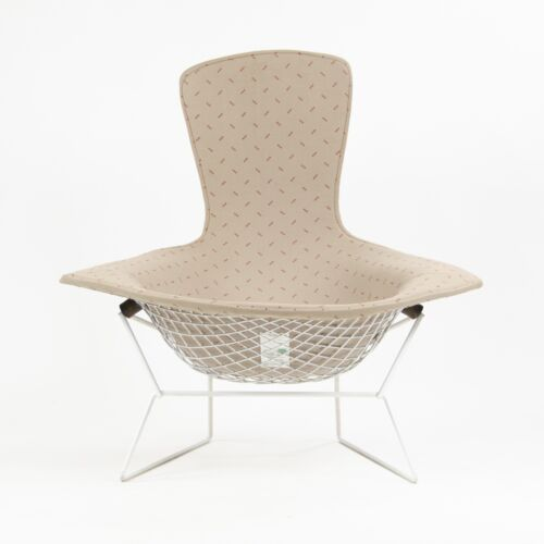 1983 Knoll International Harry Bertoia Wire Bird Lounge Chair White Upholstered