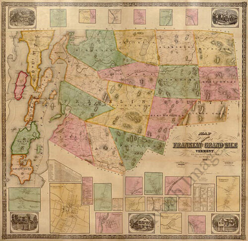 Franklin and Grand Isle Counties VT c1857 map 25x24