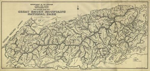 Base map of Great Smoky Mountains National Park 1934 36x17