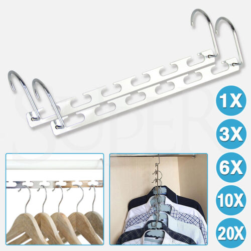 6/10PCS Wonder Metal Magic Hanger Space Saver Saving Bulk Clothes Closet Hanger