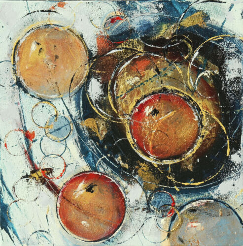 """Cynthia Ligeros Abstract Oil Circle Painting """"Hushed October"""""""