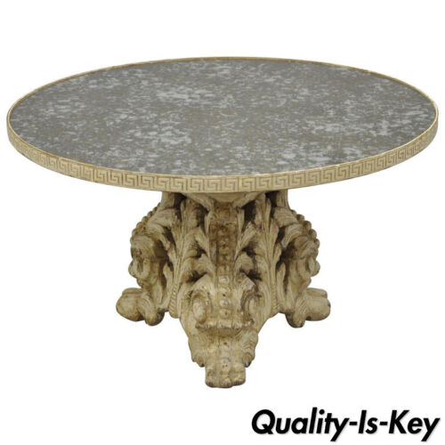Italian Baroque Painted Carved Wood Pedestal Round Églomisé Glass Coffee Table