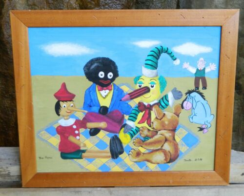 Vintage The Picnic Children's Characters Painting signed by Artist Josette 1998