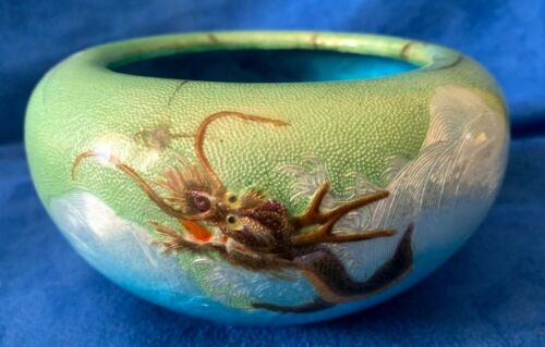 Vintage Japanese Guilloche Enamel Silver Bowl Dragon marked