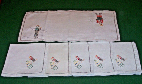 5 VINTAGE CHINESE EMBROIDERED NAPKINS, FIGURAL THEME, TABLE RUNNER, BLUE, c1930