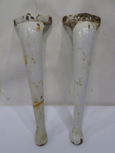 2 Vintage Queen Anne Style Porcelain Enameled Legs for Projects