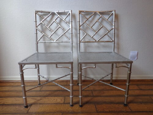 Chinese Chippendale Chair Silver Chrome Chic Regency Style Armchair Seating Chic