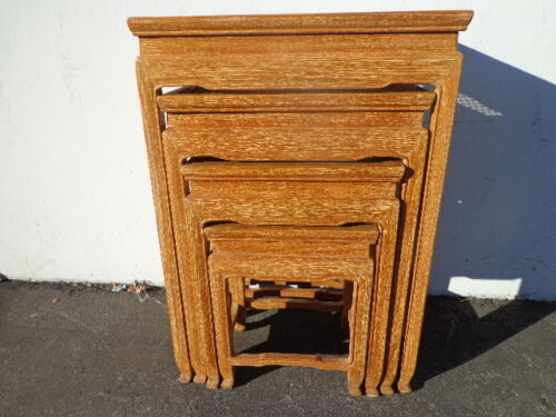 4 Nesting Tables Cane Traditional Asian Country French Accent Side End Stacking