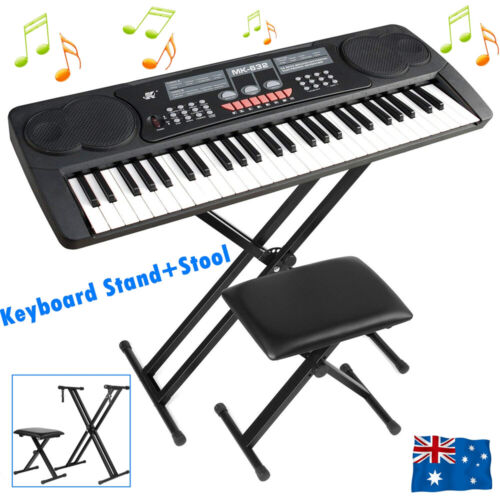 Set Adjustable Keyboard Stand Portable Piano Stool Seat Folding Bench Chair AU