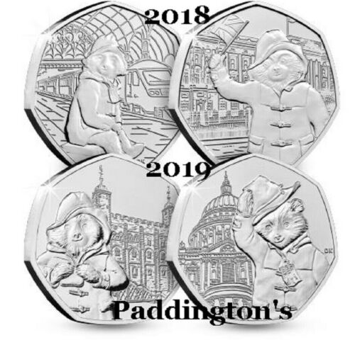 2019 PADDINGTON BEAR CATHEDRAL.TOWER.STATION PALACE 2018 FLOPSY 50P COINS.ALBUMS <br/> 2019 BU SNOWMAN  GRUFFALO WALLACE & GROMIT S HAWKING
