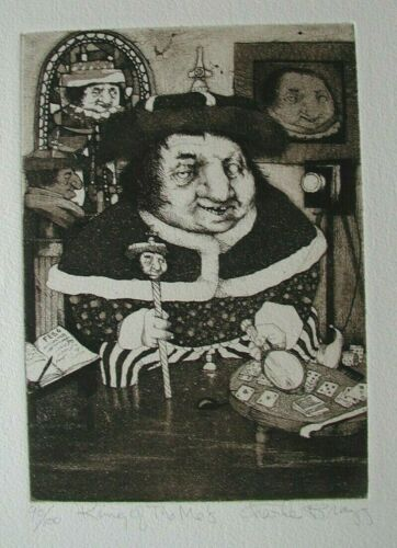 """CHARLES BRAGG, """"KING OF ME'S"""",  HARD TO FIND, 1982, Etching, S/N, 90/100, COA"""