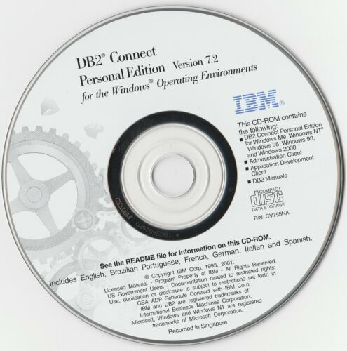 Classic Pc Software - IBM DB2 Connect - Personal Edition V7.2 - Released 2001 -